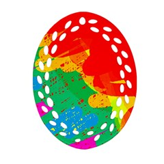 Colorful abstract design Oval Filigree Ornament (2-Side)