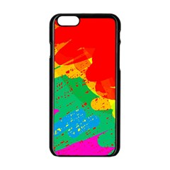 Colorful abstract design Apple iPhone 6/6S Black Enamel Case