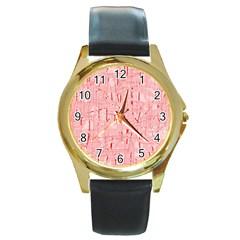 Elegant pink pattern Round Gold Metal Watch