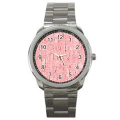 Elegant pink pattern Sport Metal Watch