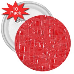 Red pattern 3  Buttons (10 pack)
