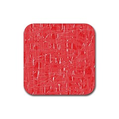 Red pattern Rubber Coaster (Square)