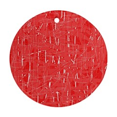 Red pattern Round Ornament (Two Sides)