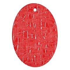 Red pattern Oval Ornament (Two Sides)