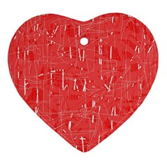 Red pattern Heart Ornament (2 Sides)