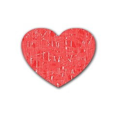 Red pattern Rubber Coaster (Heart)