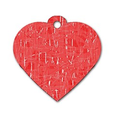 Red pattern Dog Tag Heart (Two Sides)