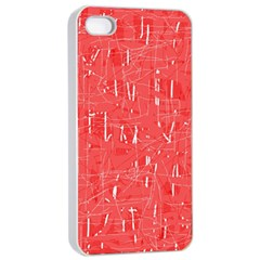 Red pattern Apple iPhone 4/4s Seamless Case (White)