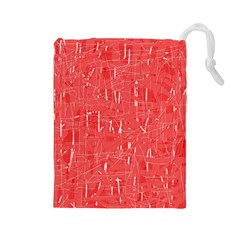 Red pattern Drawstring Pouches (Large)