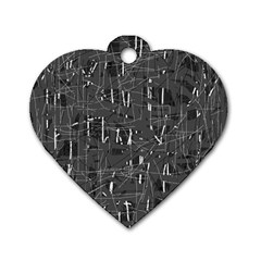 Gray pattern Dog Tag Heart (One Side)