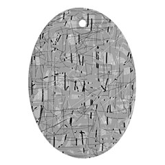 Gray pattern Oval Ornament (Two Sides)