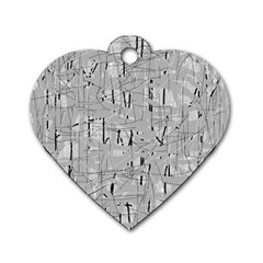 Gray pattern Dog Tag Heart (Two Sides)