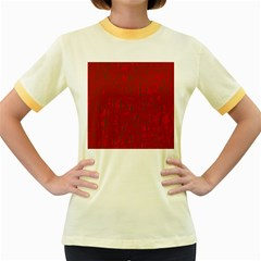 Red pattern Women s Fitted Ringer T-Shirts