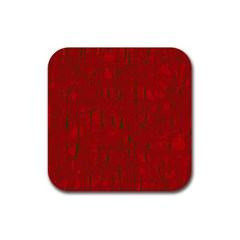 Red pattern Rubber Square Coaster (4 pack)