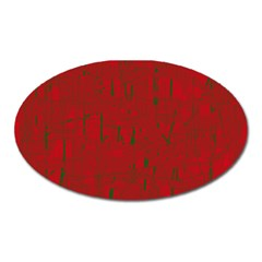 Red pattern Oval Magnet