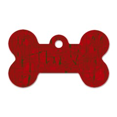 Red pattern Dog Tag Bone (Two Sides)