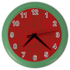 Red pattern Color Wall Clocks