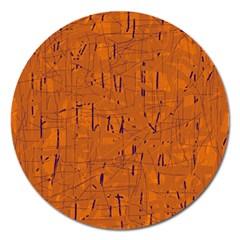 Orange pattern Magnet 5  (Round)