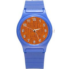 Orange pattern Round Plastic Sport Watch (S)