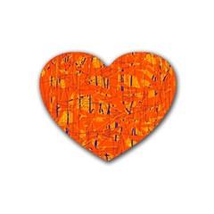 Orange pattern Rubber Coaster (Heart)