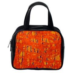 Orange pattern Classic Handbags (One Side)