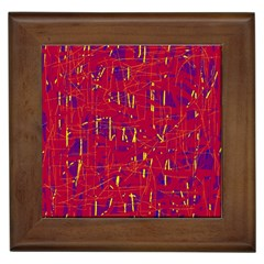 Red and blue pattern Framed Tiles