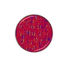 Red and blue pattern Hat Clip Ball Marker (4 pack)