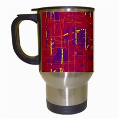 Red and blue pattern Travel Mugs (White)