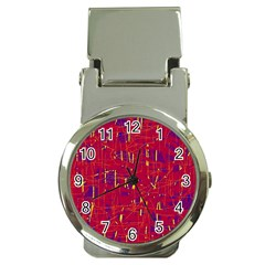 Red and blue pattern Money Clip Watches