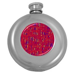 Red and blue pattern Round Hip Flask (5 oz)