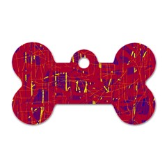 Red and blue pattern Dog Tag Bone (One Side)