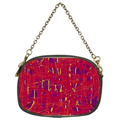 Red and blue pattern Chain Purses (One Side)