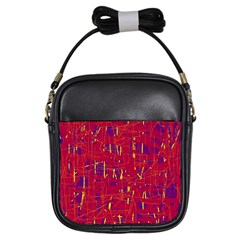 Red and blue pattern Girls Sling Bags