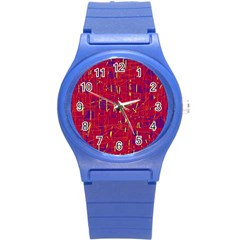 Red and blue pattern Round Plastic Sport Watch (S)