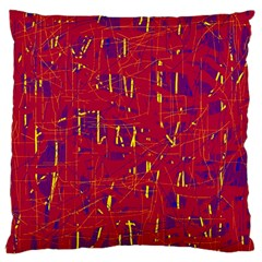 Red and blue pattern Large Cushion Case (Two Sides)