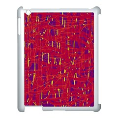 Red and blue pattern Apple iPad 3/4 Case (White)