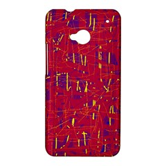 Red and blue pattern HTC One M7 Hardshell Case