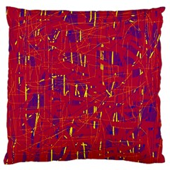 Red and blue pattern Large Flano Cushion Case (Two Sides)