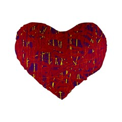 Red and blue pattern Standard 16  Premium Flano Heart Shape Cushions