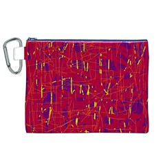 Red and blue pattern Canvas Cosmetic Bag (XL)