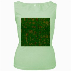 Green pattern Women s Green Tank Top