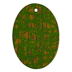 Green pattern Oval Ornament (Two Sides)