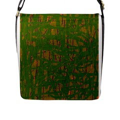 Green pattern Flap Messenger Bag (L)