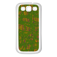 Green pattern Samsung Galaxy S3 Back Case (White)