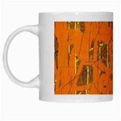 Orange pattern White Mugs