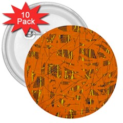 Orange pattern 3  Buttons (10 pack)