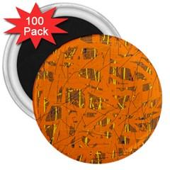 Orange pattern 3  Magnets (100 pack)