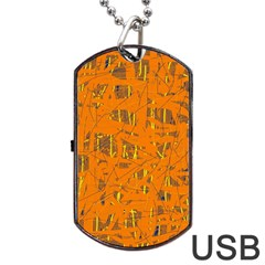 Orange pattern Dog Tag USB Flash (One Side)