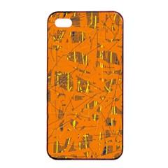 Orange pattern Apple iPhone 4/4s Seamless Case (Black)