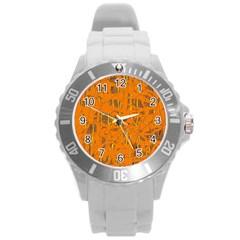 Orange pattern Round Plastic Sport Watch (L)